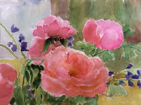 """Peonies"" original fine art by Marita Hines"