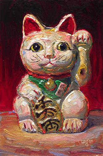 """Beckoning Cat Bank"" original fine art by Raymond Logan"