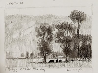 """Foggy Hillside Morning_colorado, mountain,meadow, cottonwood"" original fine art by V.... Vaughan"