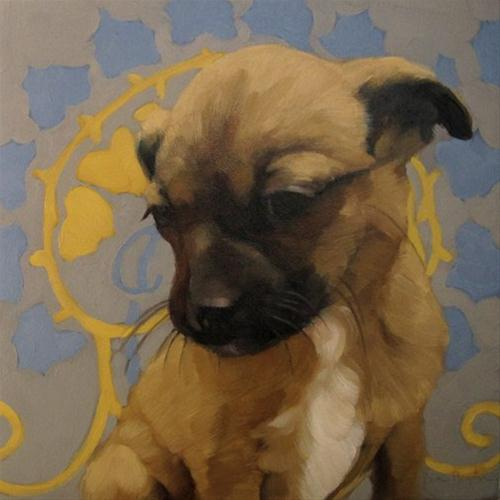 """""""The Good Dog cute puppy on pattern painting"""" original fine art by Diane Hoeptner"""