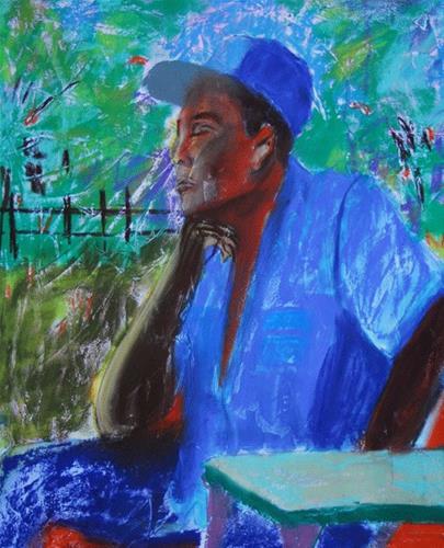 """Side Porch Peace"" original fine art by Donna Crosby"