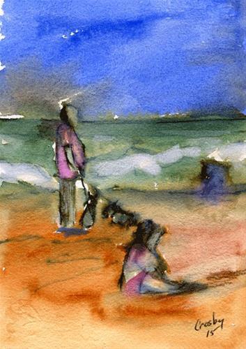 """""""Beach Puppies"""" original fine art by Donna Crosby"""