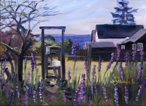 """""""Purple Flowers in The Garden"""" original fine art by Mariko Irie"""