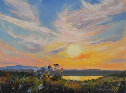 """Blazing Sunset Over the Hudson"" original fine art by Jamie Williams Grossman"