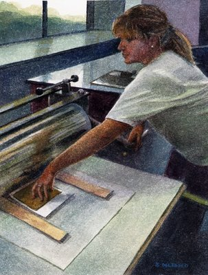 """Watercolor: Printmaker at Work"" original fine art by Belinda Del Pesco"