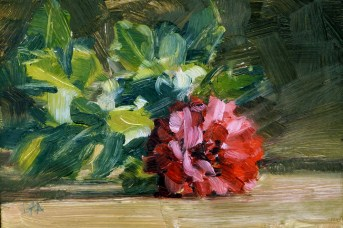"""Small Oil Paintings of Red Blooms"" original fine art by Deb Anderson"