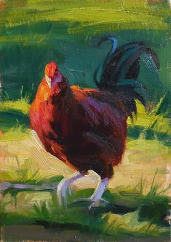 """Rhode Island red"" original fine art by Kathy Weber"