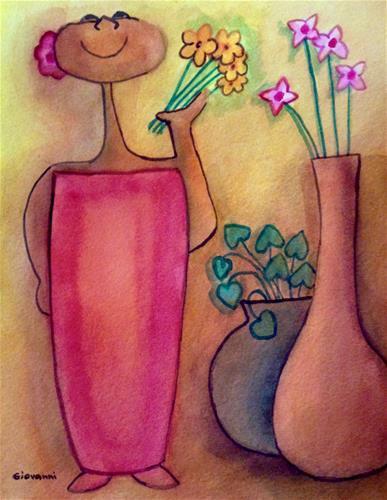 """Flowers are beautiful"" original fine art by Giovanni Antunez"