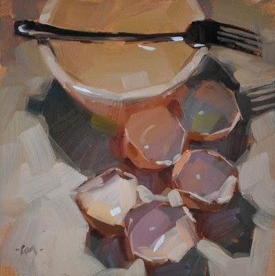 """Yolkless"" original fine art by Carol Marine"