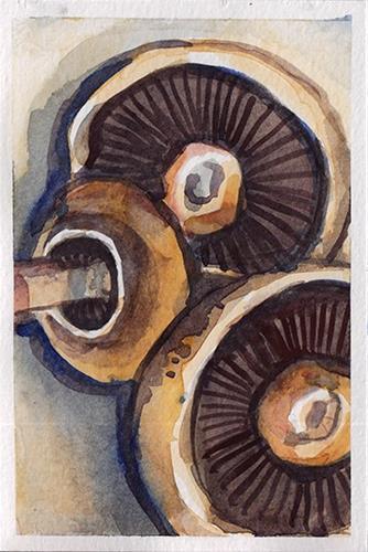 """Trio of Mushrooms"" original fine art by J M Needham"