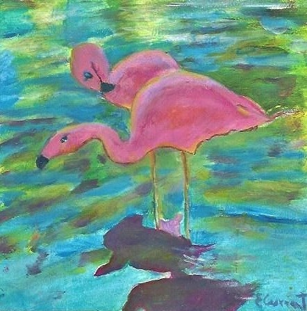"""Maui flamingo"" original fine art by Elizabeth Current"