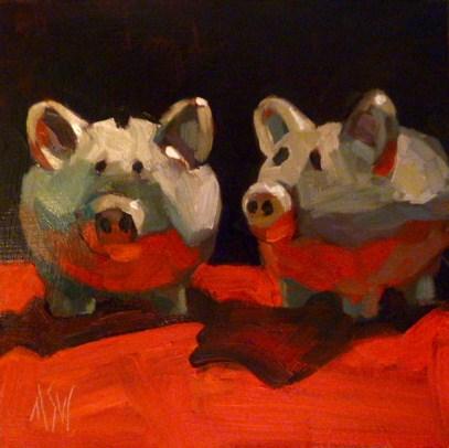 """""""Pig Love 6x6 oil on gesso board"""" original fine art by Mary Sheehan Winn"""