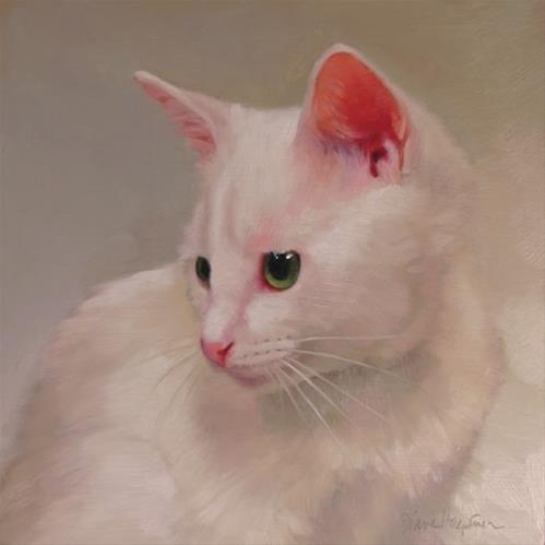 """White Kitten, a cat painting"" original fine art by Diane Hoeptner"