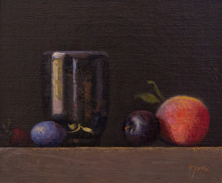 """""""Golden Series: Strawberry, Plums, and Peach with Handmade Cup  (+ Contest Giveaway !)"""" original fine art by Abbey Ryan"""