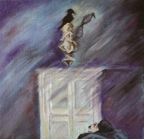 """Throwback Thursday: Poe Returning to Boston"" original fine art by Maggie Flatley"