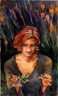 """""""Watercolor: Garland Weaver"""" original fine art by Belinda Del Pesco"""