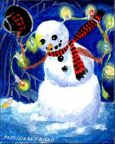 """Mr. Snowman's Holiday Decorations"" original fine art by Patricia Ann Rizzo"