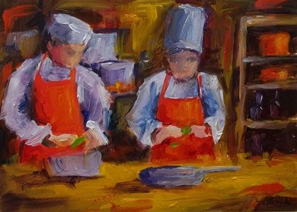 """Prepping for the Day"" original fine art by Alice Harpel"