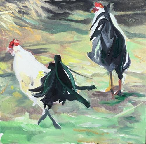 """Annoyed Roosters"" original fine art by Lauren Kuhn"