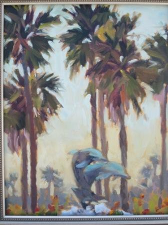 """""""Dolphins and Palms"""" original fine art by Leigh Alexandra Sparks"""