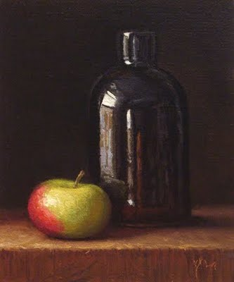 """""""Lady Apple with Curved Bottle (exhibition)"""" original fine art by Abbey Ryan"""