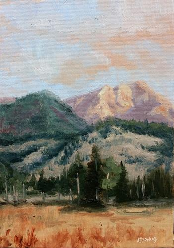 """""""Sunrise on the mountains 1-study"""" original fine art by Veronica Brown"""