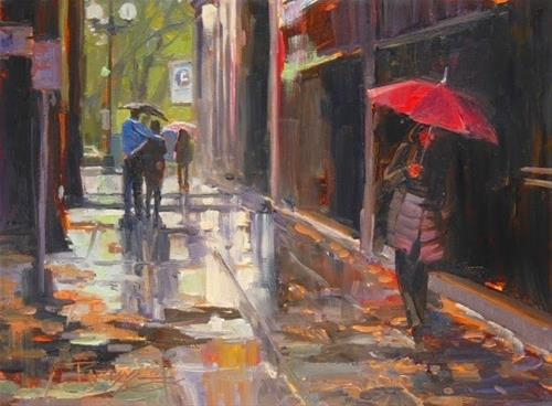 """""""Valentines Day  Seattle cityscape oil painting by Robin Weiss"""" original fine art by Robin Weiss"""