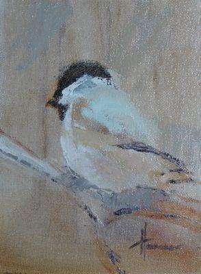 """Black Cap Chickadee"" original fine art by Susan Hammer"