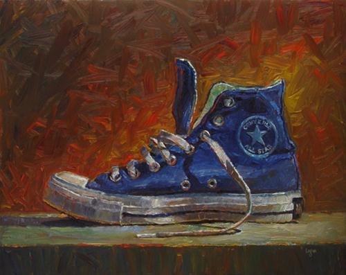 """""""Blue High Top"""" original fine art by Raymond Logan"""