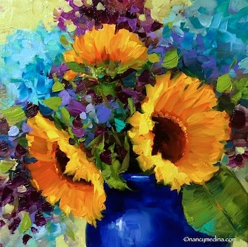 """Purple Flash Sunflowers, San Diego Photos, and a Florida Invitation - Flower Paintings by Nancy Medi"" original fine art by Nancy Medina"
