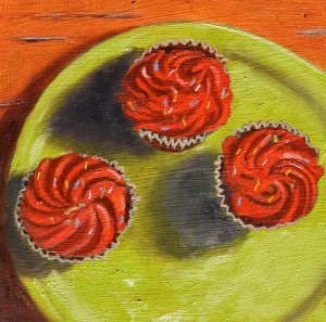 """""""Red Cupcakes on a Green Plate"""" original fine art by Robert Frankis"""