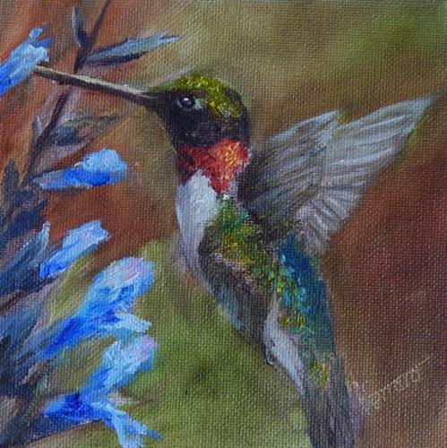 """Hummingbird w/ blue flower"" original fine art by Lina Ferrara"