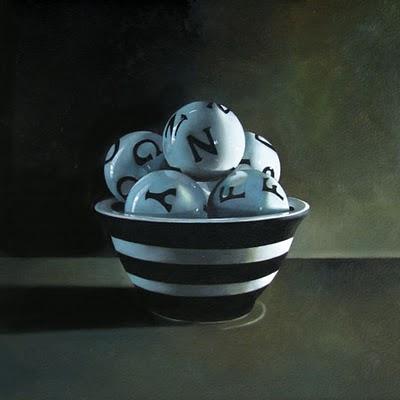 """Bowl-N-Ballz  8x8"" original fine art by M Collier"