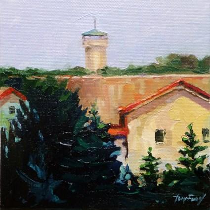 """""""water tower"""" original fine art by Jurij Frey"""