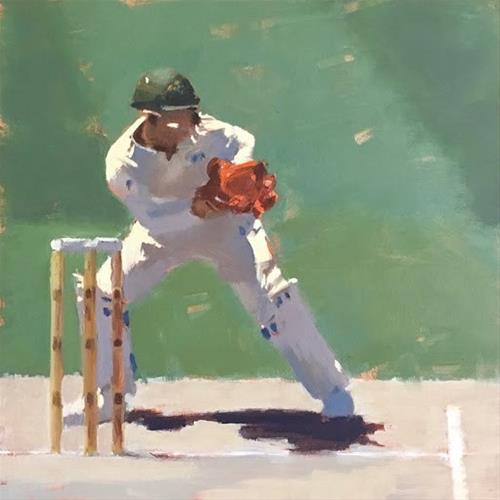 """WICKET KEEPER"" original fine art by Helen Cooper"