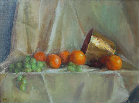 """""""Oranges and Brass"""" original fine art by Patricia Nebbeling"""