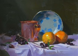"""""""Copper Cup and Oranges"""" original fine art by Qiang Huang"""