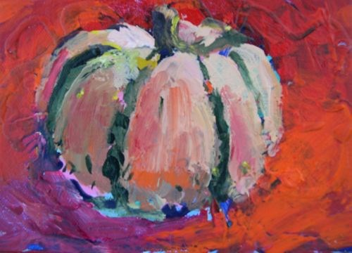"""""""Carnival Pumpkin, Contemporary Pumpkin Paintings by Arizona Artist Amy Whitehouse"""" original fine art by Amy Whitehouse"""