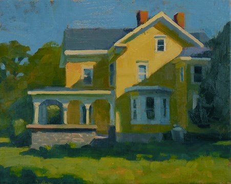 """Yellow house"" original fine art by Kathy Weber"