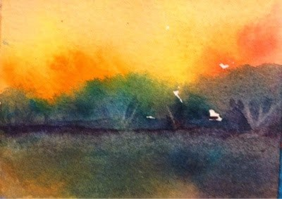 """Tiny Bayou #3 - Evening Fire"" original fine art by Lyn Gill"