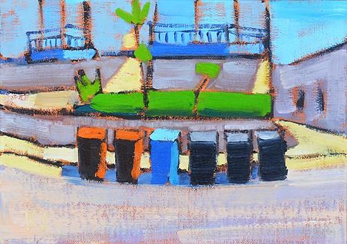 """Trash Day, San Clemente"" original fine art by Kevin Inman"