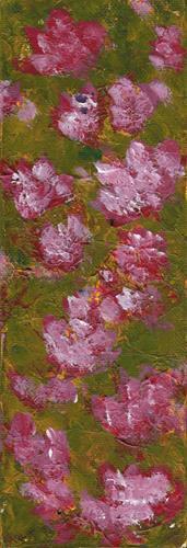 """Pink Flowers on Olive II"" original fine art by Donna Vieth"