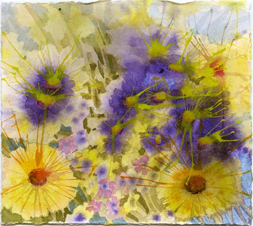 """""""Yellow & Purple"""" original fine art by Eileen Hennemann"""
