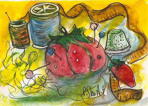 """""""ACEO Sewing Stuff Thread Tomato Pin Cushion Measuring Tape Penny StewArt"""" original fine art by Penny Lee StewArt"""