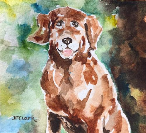 """Good Boy!"" original fine art by Judith Freeman Clark"