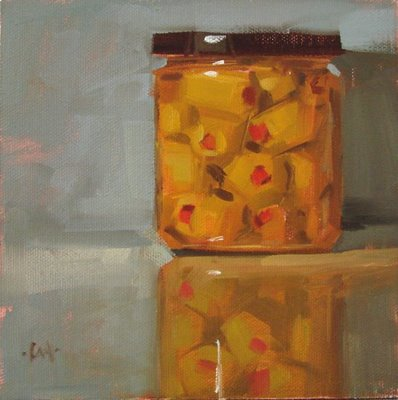 """Martini Olives, on the mend & studio update"" original fine art by Carol Marine"