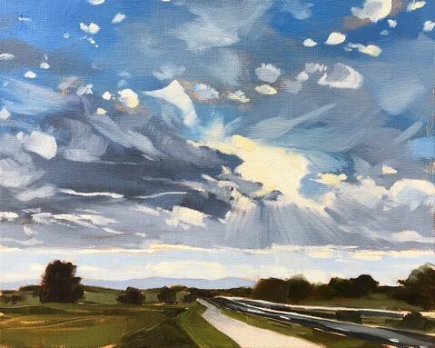"""Colorado Clouds and Sun"" original fine art by Sharon Schock"