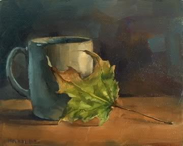 """Morning Coffee with Leaf"" original fine art by Michael Naples"
