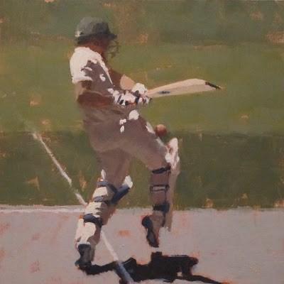 """""""BATSMAN 8 - Cricket at the MCG"""" original fine art by Helen Cooper"""