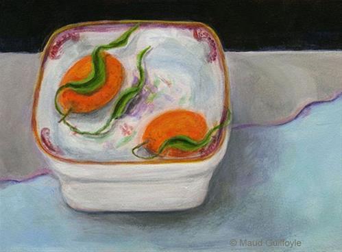 """Heirloom 8 Two Kumquats in Square Dish"" original fine art by Maud Guilfoyle"